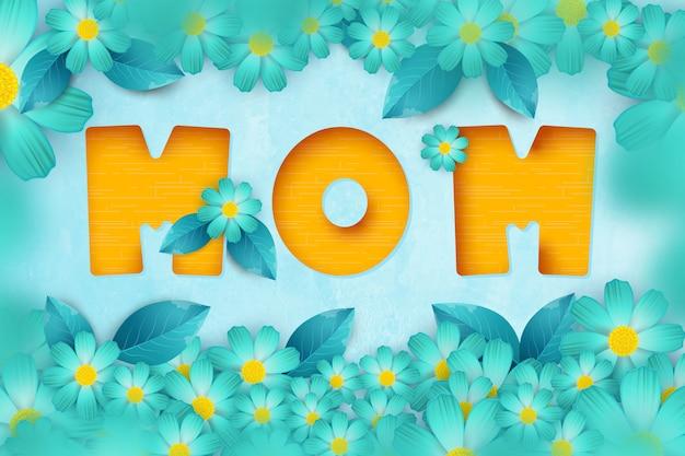 紙の花と手紙が入った母の日へのポストカード。