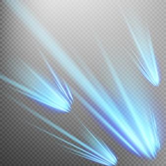 青い流星または彗星のセット。