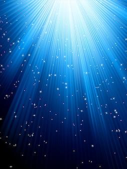 青の縞模様の背景の星。