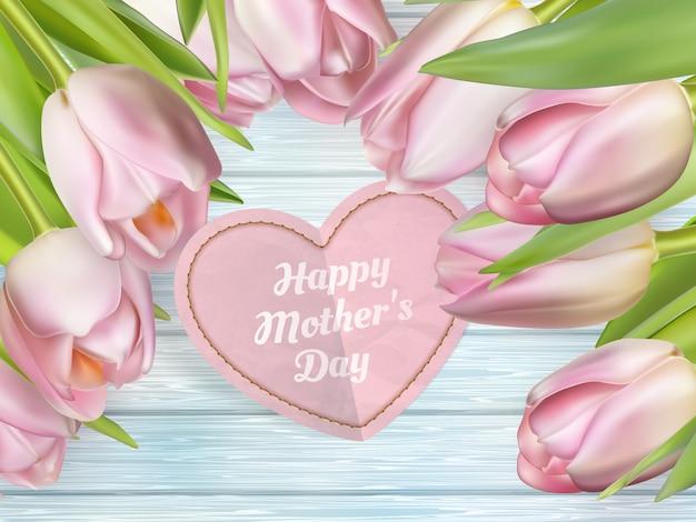 ピンクのチューリップと母の日のグリーティングカードの花束