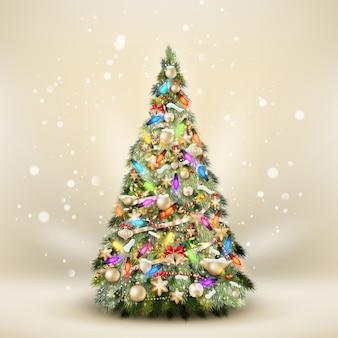 エレガントなベージュのクリスマスのモミの木。