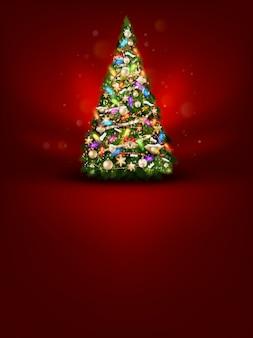 赤い背景の上にクリスマスツリー。