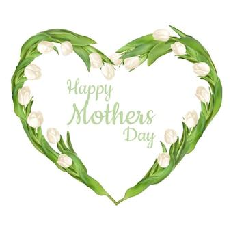 白い背景に分離された白いチューリップの美しい花束。母の日。