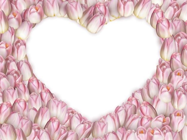 ハート型の白い背景に分離されたピンクの春の花とチューリップフレーム