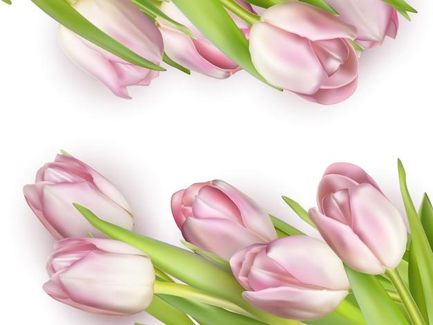 ピンクのチューリップの美しい花束。