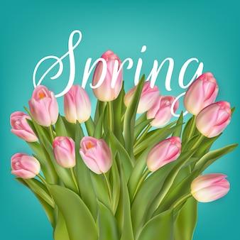 春のチューリップの花。チューリップの束。ピンクのチューリップ。