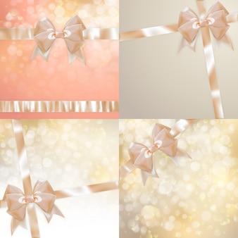 光の弓と輝きの背景のクリスマスセット。