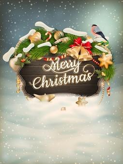 クリスマスの毛皮の木の枝を持つ木製のバナー。