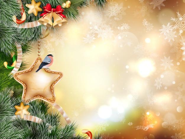 ゴールドのボケ味のモミの枝でクリスマスの装飾。