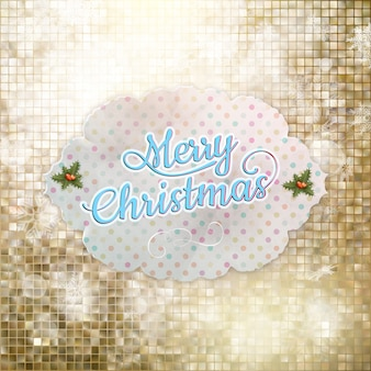 Счастливого рождества с золотым фоном мозаики ..