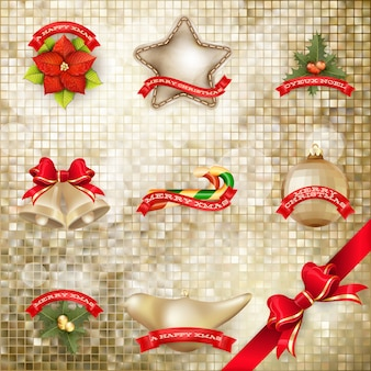 黄金のモザイクの背景のクリスマスの弓。