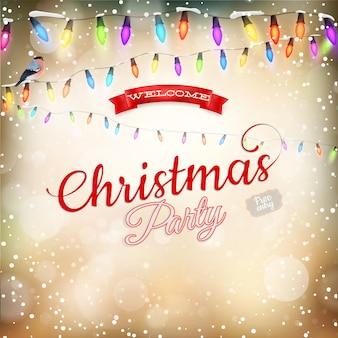 明るいガーランドとゴールドのクリスマス背景。