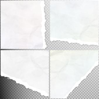 Реалистичный рваный набор бумаги