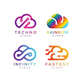 クラウドロゴコレクション、テッククラウド、レインボークラウド、インフィニティクラウド、高速クラウド、アイコン、モダン、インターネット、コンピューター、