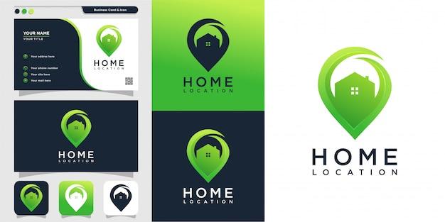 モダンなスタイルのロゴと名刺のデザインテンプレート、アイコン、場所、地図、モダンな家、家の家の場所