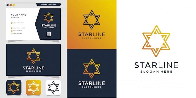 星のロゴと名刺のデザインテンプレート。エネルギー、抽象、カード、アイコン、高級、スター