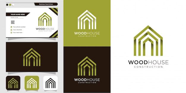 木造住宅のロゴと名刺デザインテンプレート、モダン、木材、家、家、建設、建物
