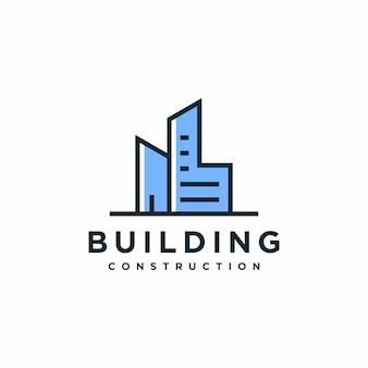 Современное здание, дизайн логотипа, архитектура, строительство премиум