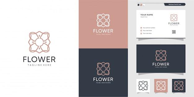 Цветочный логотип и дизайн визитной карточки. салон красоты, мода, салон, премиум