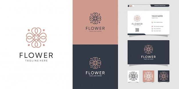 Красота цветок логотип и дизайн визитной карточки. салон красоты, мода, салон, визитка, премиум