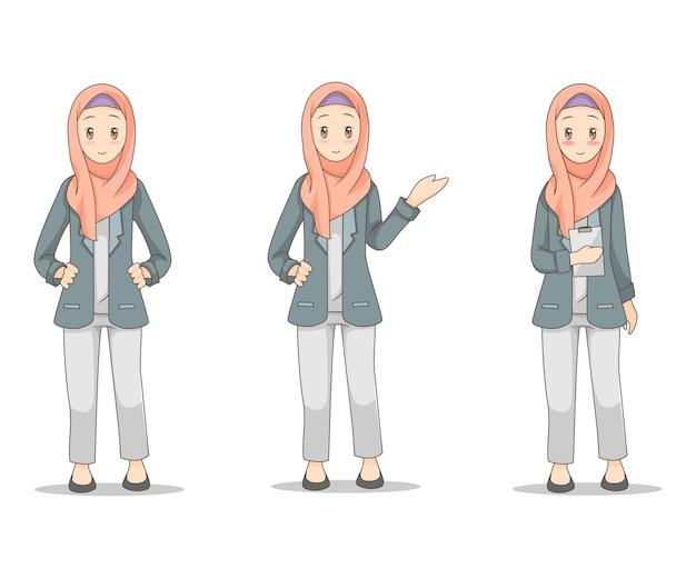 ヒジャーブのベールを着て若いビジネスの女性