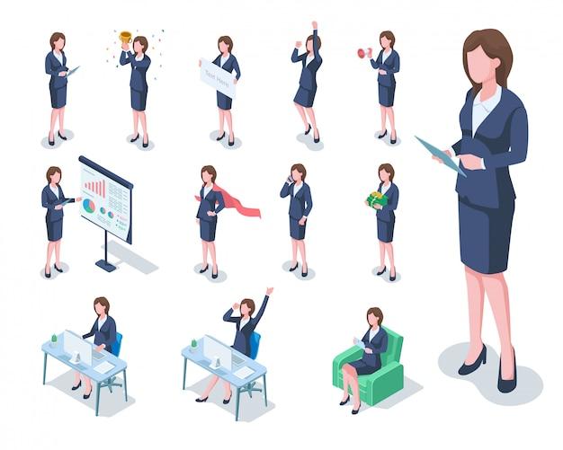 ビジネス女性イラストの等尺性セット