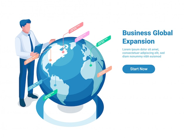Концепция иллюстрации глобального расширения с текстовым шаблоном