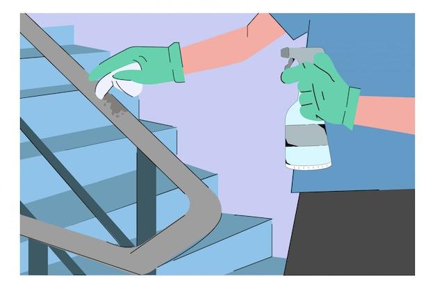 Общая дезинфекционная очистка иллюстрации