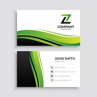 Минималистский шаблон зеленой визитной карточки