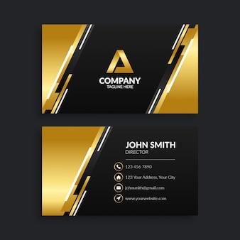 Современный черный и золотой шаблон визитной карточки