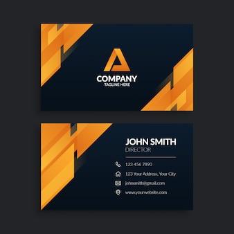 Современный оранжевый геометрический шаблон визитной карточки