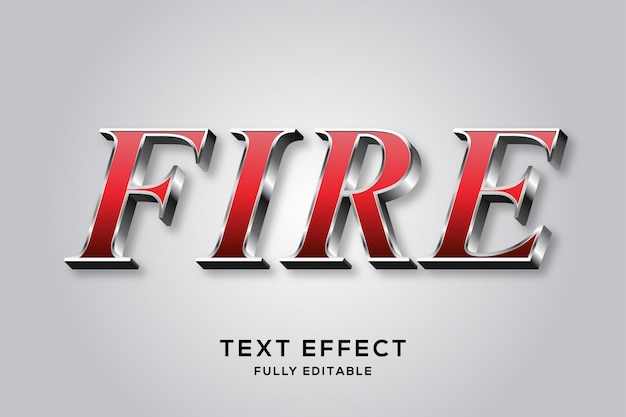 Стильный красный и серебристый редактируемый текстовый эффект