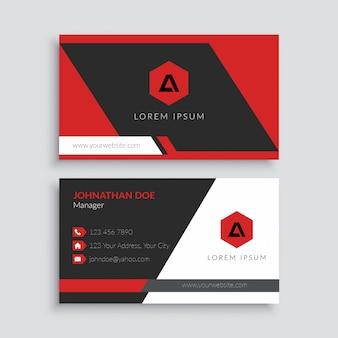 Красный профессиональный шаблон визитной карточки