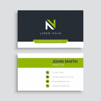 Зеленый современный шаблон визитной карточки