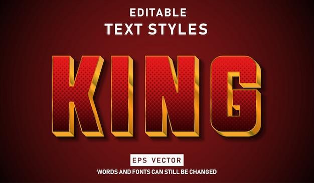 Редактируемый текстовый эффект золотой король