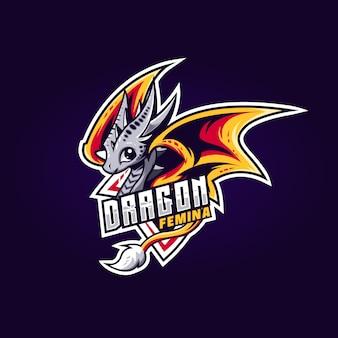 Эспорт логотип - дракон милый шаблон