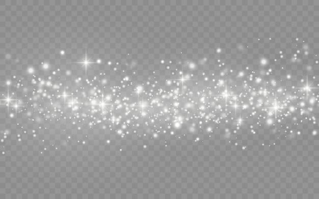 Белая пыль искры и звезды сияют с особым светом, сверкающие частицы волшебной пыли, изолированные на прозрачном фоне, блеск огни, блеск, векторные иллюстрации.