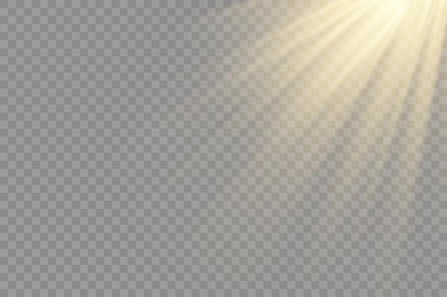 明るい爆発のある日光、光線と魔法の輝きによるフレア効果、太陽光線、黄色のビーム効果、輝きの光の中でのぼかし、フロントの太陽レンズフラッシュ
