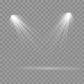 舞台照明スポットライトのコレクション、シーン、舞台照明の大規模なコレクション、プロジェクターライト効果、スポットライト付きの明るい白色照明、透明な背景に分離されたスポットライト、