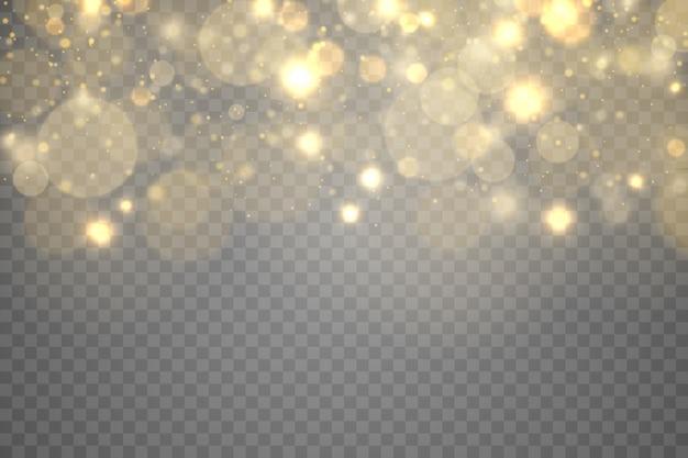 Сверкающие золотые волшебные частицы пыли боке на прозрачном фоне, рождественский искристый световой эффект, блеск, блеск огней, желтые искры пыли и звездный блеск специальным светом,.