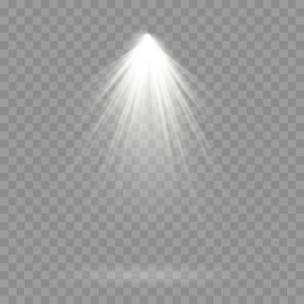 舞台照明スポットライト、シーン、舞台照明の大規模なコレクション、プロジェクターライト効果、スポットライト付きの明るい白色照明、透明な背景に分離されたスポットライトのコレクション。