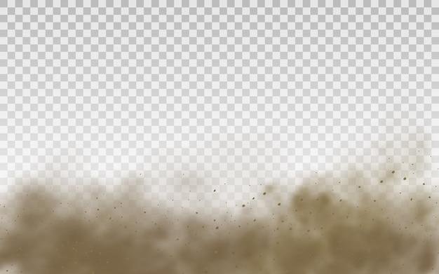 フライングサンド。ダストクラウド。茶色のほこりっぽい雲または風の突風で飛ぶ乾いた砂、砂嵐。茶色の煙のリアルな質感のイラスト。