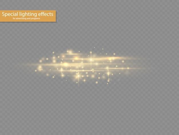 Вспышка желтого цвета с горизонтальными линзами, лазерные лучи, горизонтальные лучи света