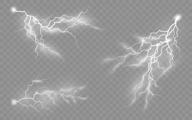 Эффект молнии и освещения, набор молний, гроза и молния