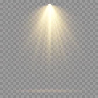 Собрание прожекторов освещения сцены, сцены, освещения этапа большого собрания, световых эффектов репроектора, яркого желтого освещения с точечными светильниками, изолированного света пятна, вектора.
