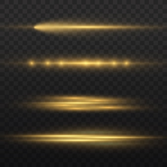 Горизонтальные световые лучи, вспышка желтых горизонтальных бликов, лазерные лучи, светящиеся желтые линии, красивые блики, яркие золотые блики, векторная иллюстрация