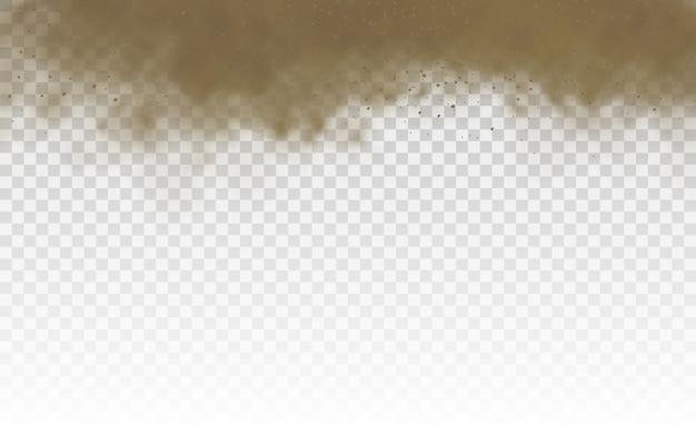 ほこりの雲、茶色のほこりっぽい雲または風、砂嵐、空飛ぶ砂、茶色の煙のリアルなテクスチャイラストで飛んで乾いた砂。
