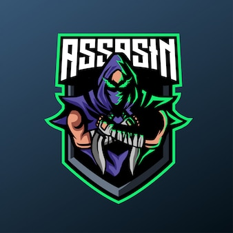 Ниндзя ассасин талисман для спорта и киберспорта логотип, изолированных на темном фоне