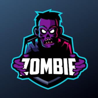 Киберпанк зомби талисман для спорта и киберспорта логотип, изолированных на темном фоне