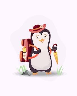 Пингвины готовы к отпуску. тема отпуска с пингвином, шляпой, зонтиком и сумкой